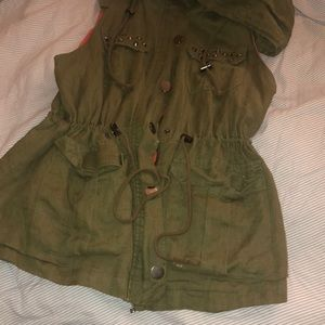 Military Vest with studs and a hood
